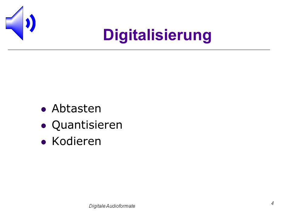 Digitale Audioformate 4 Digitalisierung Abtasten Quantisieren Kodieren