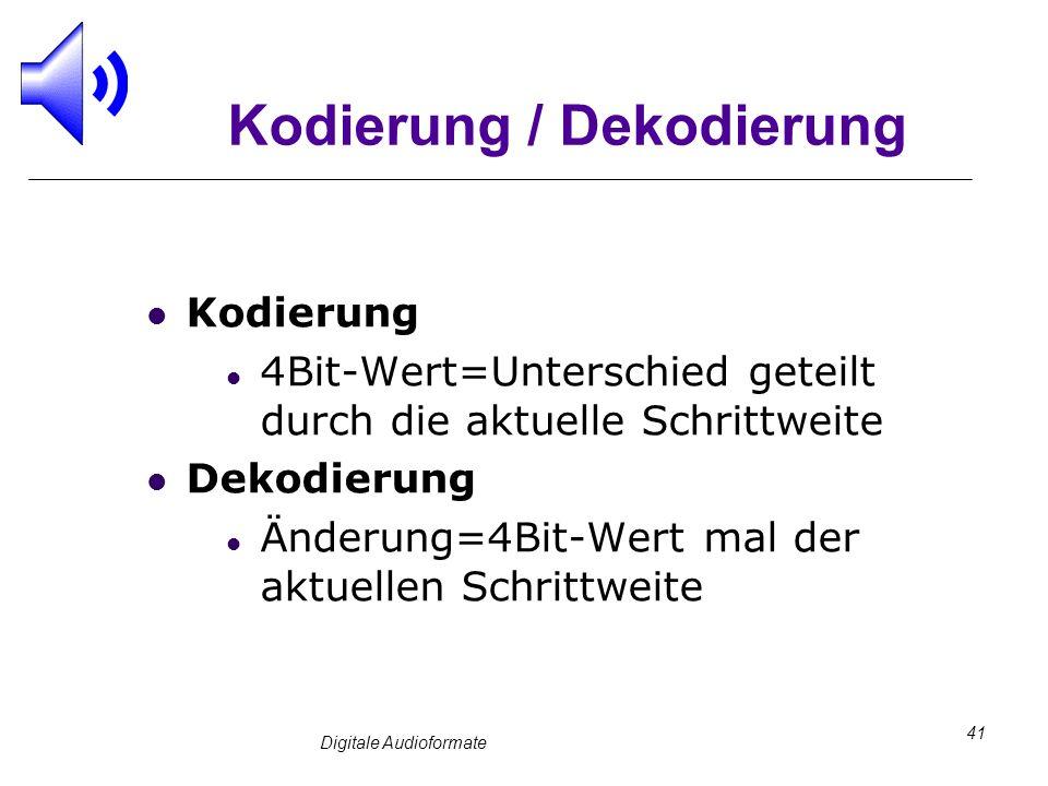 Digitale Audioformate 41 Kodierung / Dekodierung Kodierung 4Bit-Wert=Unterschied geteilt durch die aktuelle Schrittweite Dekodierung Änderung=4Bit-Wer