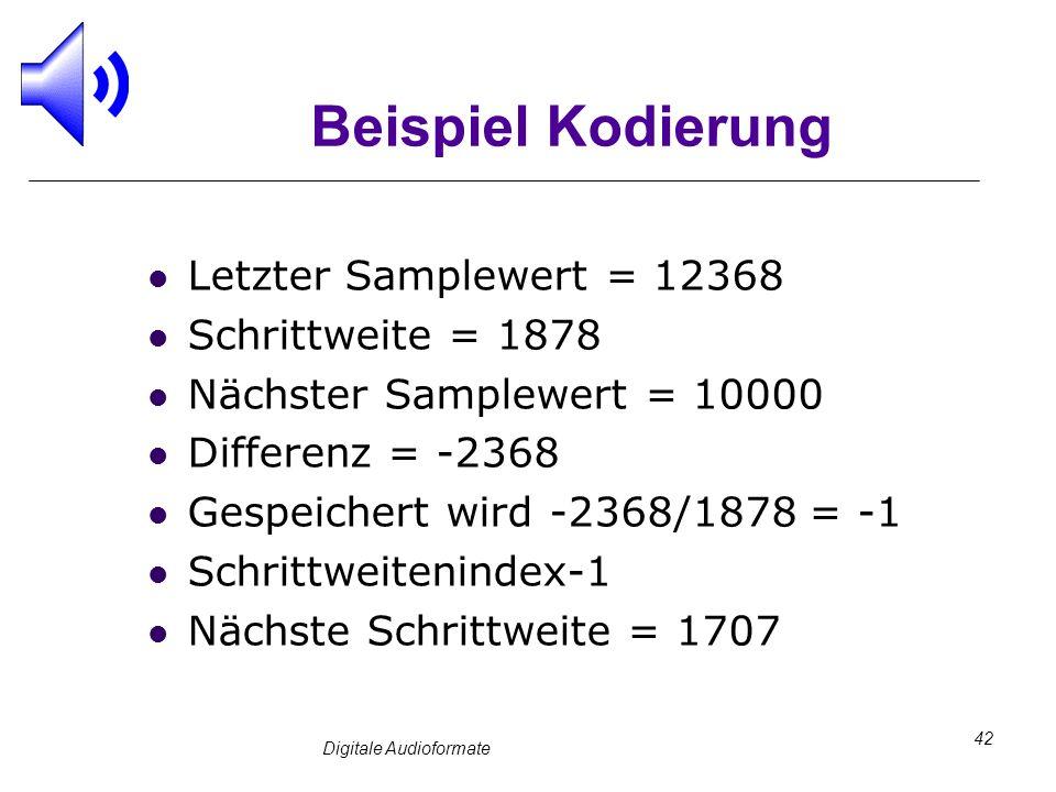 Digitale Audioformate 42 Beispiel Kodierung Letzter Samplewert = 12368 Schrittweite = 1878 Nächster Samplewert = 10000 Differenz = -2368 Gespeichert w