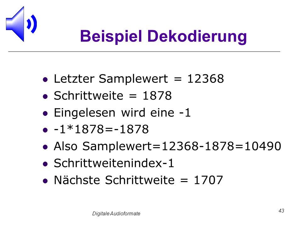 Digitale Audioformate 43 Beispiel Dekodierung Letzter Samplewert = 12368 Schrittweite = 1878 Eingelesen wird eine -1 -1*1878=-1878 Also Samplewert=123