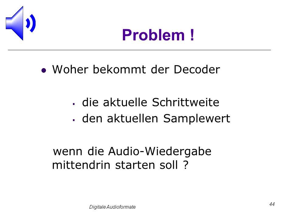 Digitale Audioformate 44 Problem ! Woher bekommt der Decoder die aktuelle Schrittweite den aktuellen Samplewert wenn die Audio-Wiedergabe mittendrin s