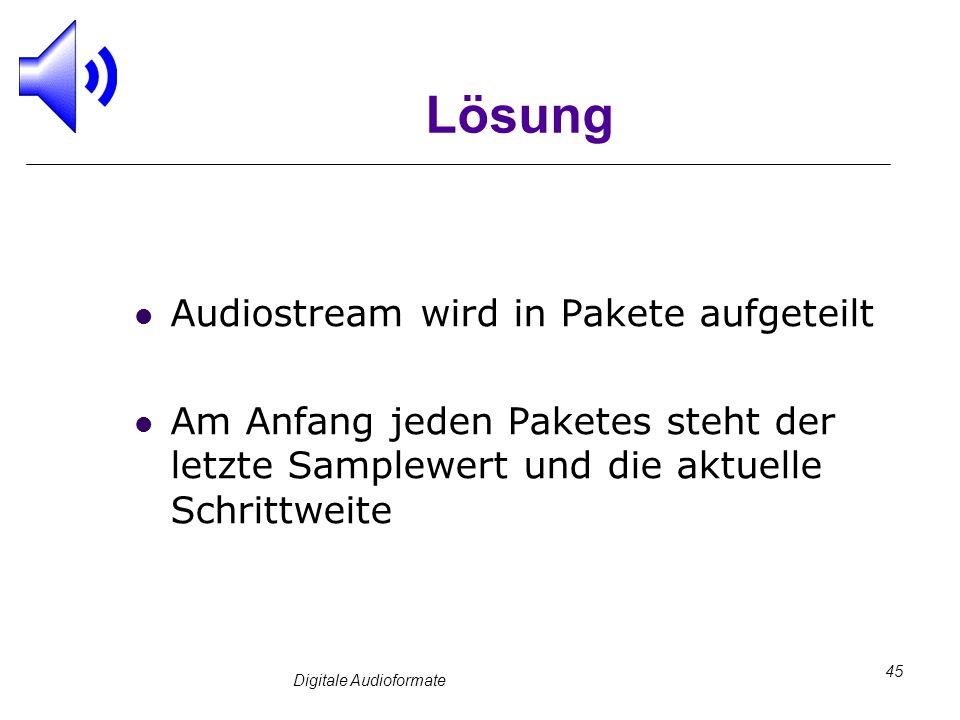 Digitale Audioformate 45 Lösung Audiostream wird in Pakete aufgeteilt Am Anfang jeden Paketes steht der letzte Samplewert und die aktuelle Schrittweit