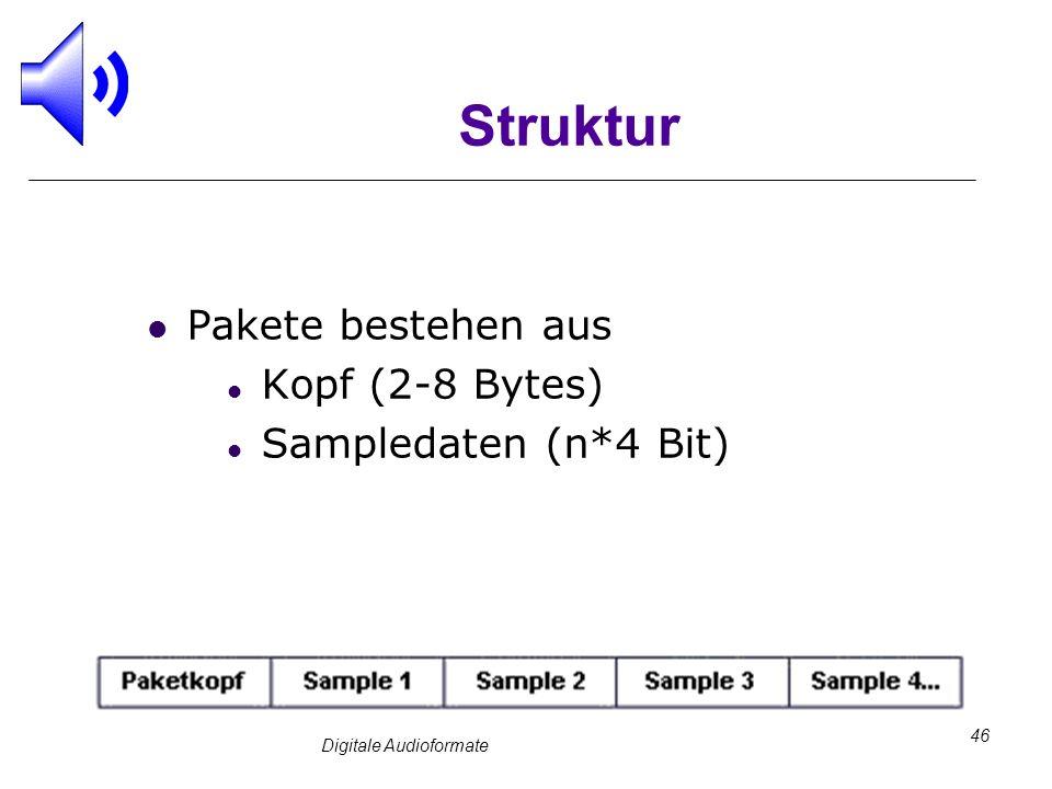 Digitale Audioformate 46 Struktur Pakete bestehen aus Kopf (2-8 Bytes) Sampledaten (n*4 Bit)