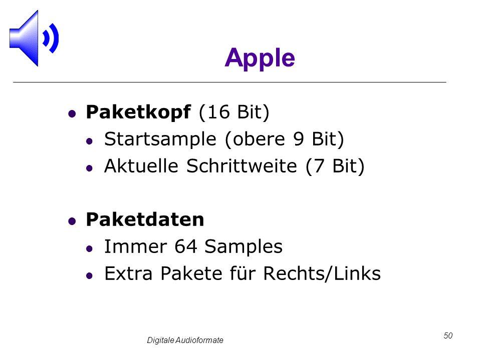 Digitale Audioformate 50 Apple Paketkopf (16 Bit) Startsample (obere 9 Bit) Aktuelle Schrittweite (7 Bit) Paketdaten Immer 64 Samples Extra Pakete für
