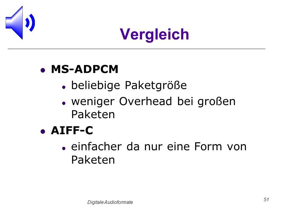Digitale Audioformate 51 Vergleich MS-ADPCM beliebige Paketgröße weniger Overhead bei großen Paketen AIFF-C einfacher da nur eine Form von Paketen