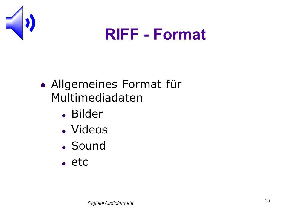 Digitale Audioformate 53 RIFF - Format Allgemeines Format für Multimediadaten Bilder Videos Sound etc
