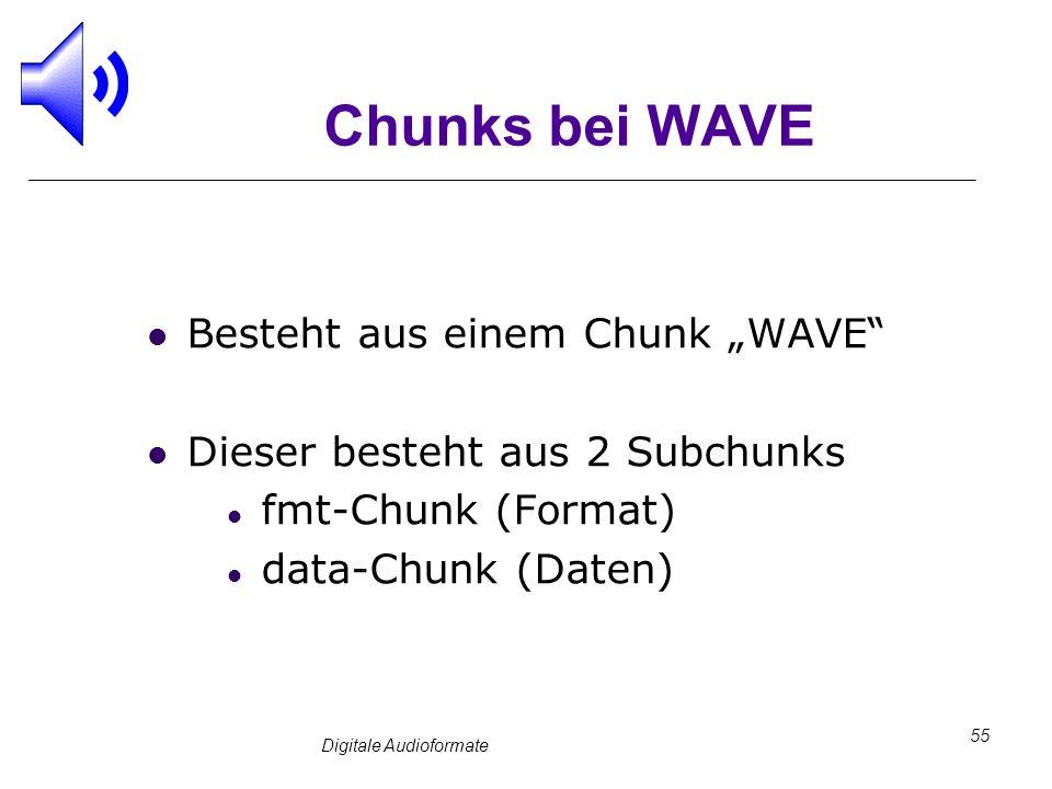 Digitale Audioformate 55 Chunks bei WAVE Besteht aus einem Chunk WAVE Dieser besteht aus 2 Subchunks fmt-Chunk (Format) data-Chunk (Daten)
