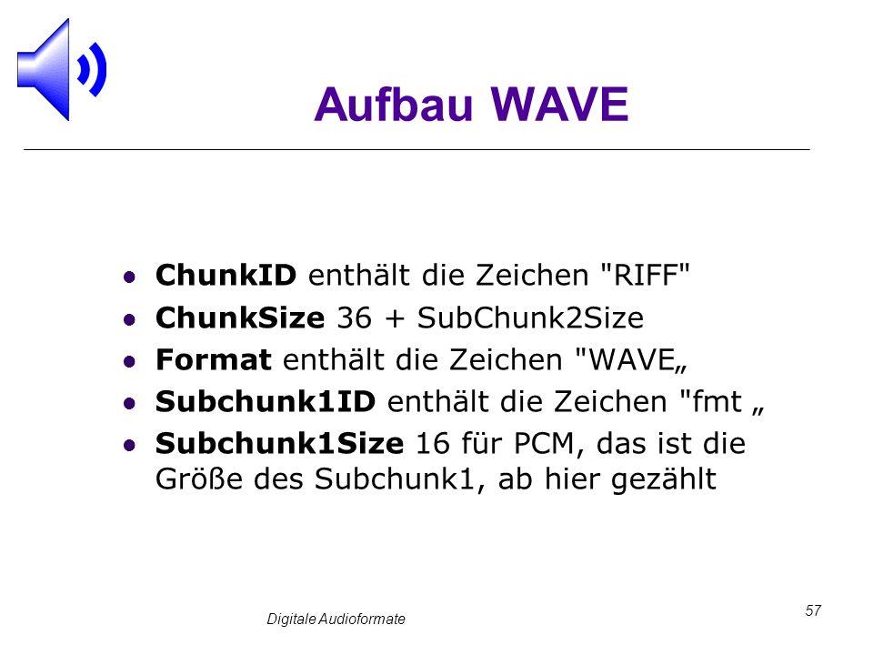 Digitale Audioformate 57 Aufbau WAVE ChunkID enthält die Zeichen