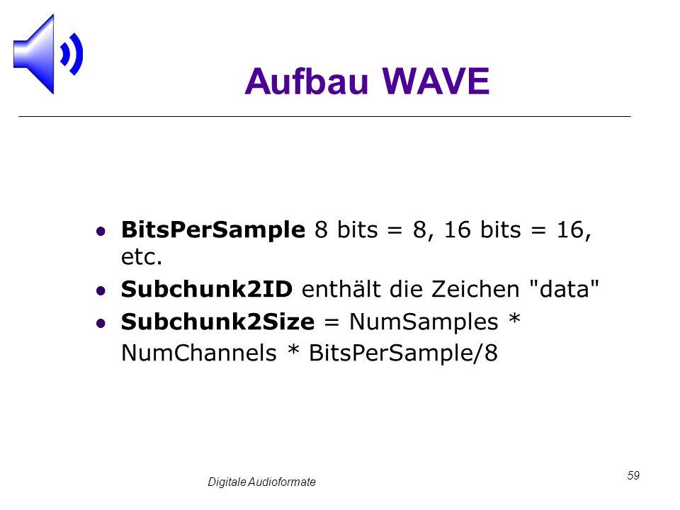 Digitale Audioformate 59 Aufbau WAVE BitsPerSample 8 bits = 8, 16 bits = 16, etc. Subchunk2ID enthält die Zeichen