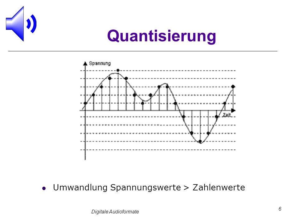 Digitale Audioformate 6 Quantisierung Umwandlung Spannungswerte > Zahlenwerte