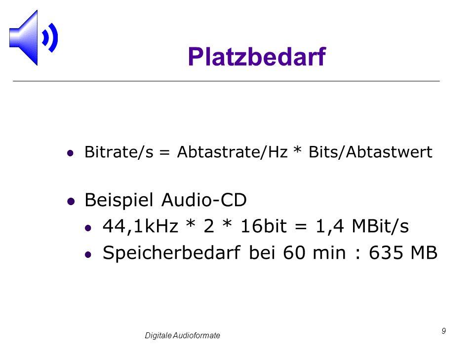 Digitale Audioformate 9 Platzbedarf Bitrate/s = Abtastrate/Hz * Bits/Abtastwert Beispiel Audio-CD 44,1kHz * 2 * 16bit = 1,4 MBit/s Speicherbedarf bei