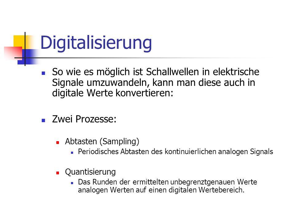 Digitalisierung So wie es möglich ist Schallwellen in elektrische Signale umzuwandeln, kann man diese auch in digitale Werte konvertieren: Zwei Prozes
