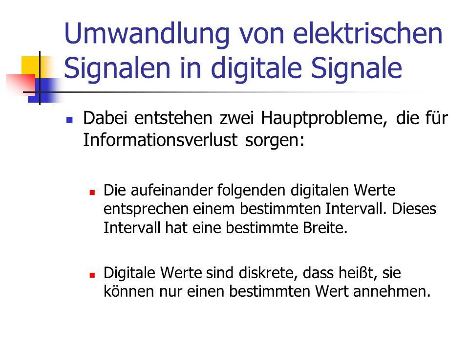 Umwandlung von elektrischen Signalen in digitale Signale Dabei entstehen zwei Hauptprobleme, die für Informationsverlust sorgen: Die aufeinander folge