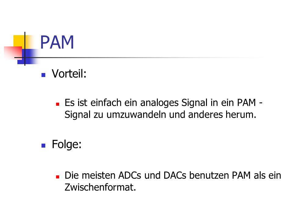 PAM Vorteil: Es ist einfach ein analoges Signal in ein PAM - Signal zu umzuwandeln und anderes herum. Folge: Die meisten ADCs und DACs benutzen PAM al