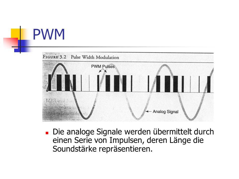 PWM Die analoge Signale werden übermittelt durch einen Serie von Impulsen, deren Länge die Soundstärke repräsentieren.