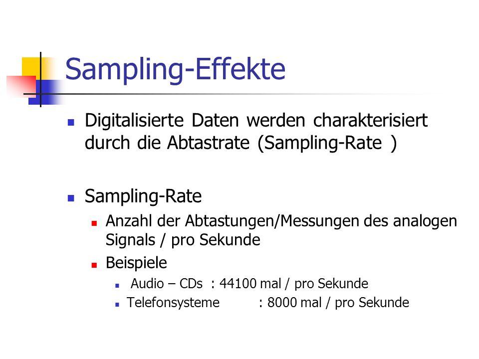 Sampling-Effekte Digitalisierte Daten werden charakterisiert durch die Abtastrate (Sampling-Rate ) Sampling-Rate Anzahl der Abtastungen/Messungen des