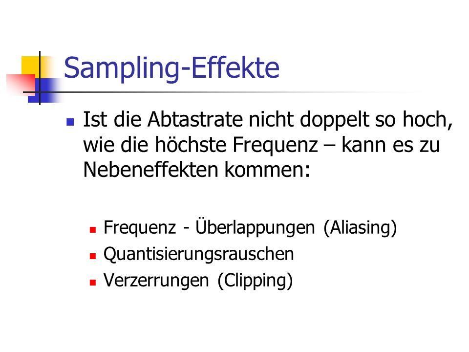 Sampling-Effekte Ist die Abtastrate nicht doppelt so hoch, wie die höchste Frequenz – kann es zu Nebeneffekten kommen: Frequenz - Überlappungen (Alias