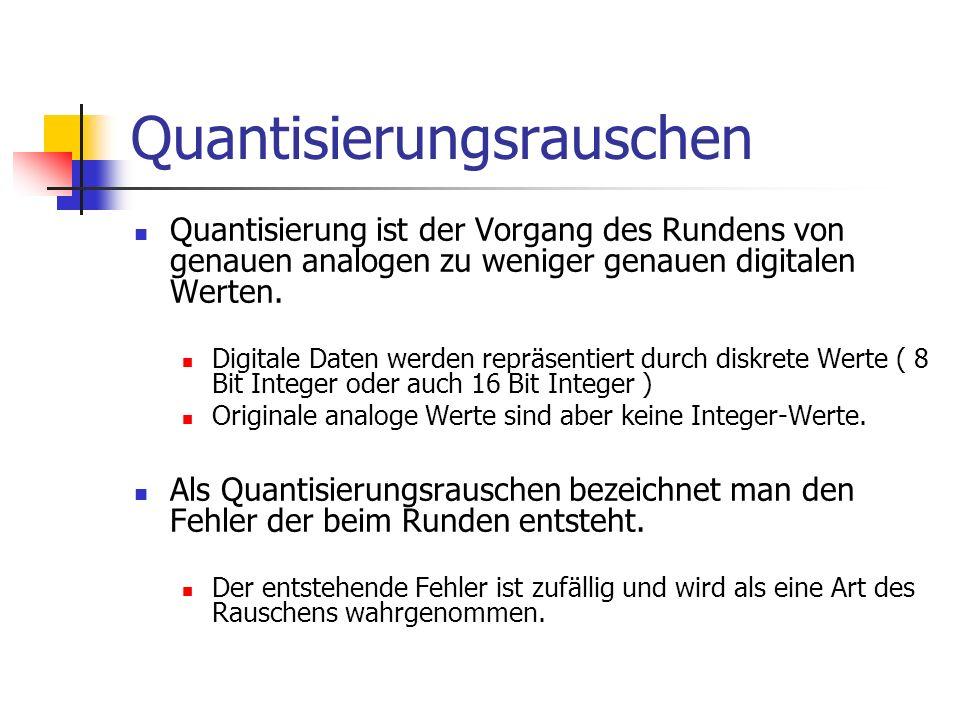Quantisierungsrauschen Quantisierung ist der Vorgang des Rundens von genauen analogen zu weniger genauen digitalen Werten. Digitale Daten werden reprä