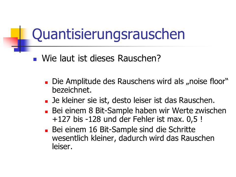 Quantisierungsrauschen Wie laut ist dieses Rauschen? Die Amplitude des Rauschens wird als noise floor bezeichnet. Je kleiner sie ist, desto leiser ist