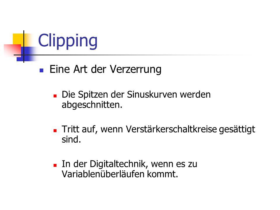 Clipping Eine Art der Verzerrung Die Spitzen der Sinuskurven werden abgeschnitten. Tritt auf, wenn Verstärkerschaltkreise gesättigt sind. In der Digit