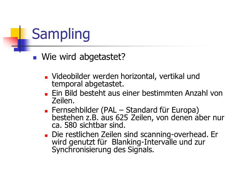 Sampling Wie wird abgetastet? Videobilder werden horizontal, vertikal und temporal abgetastet. Ein Bild besteht aus einer bestimmten Anzahl von Zeilen