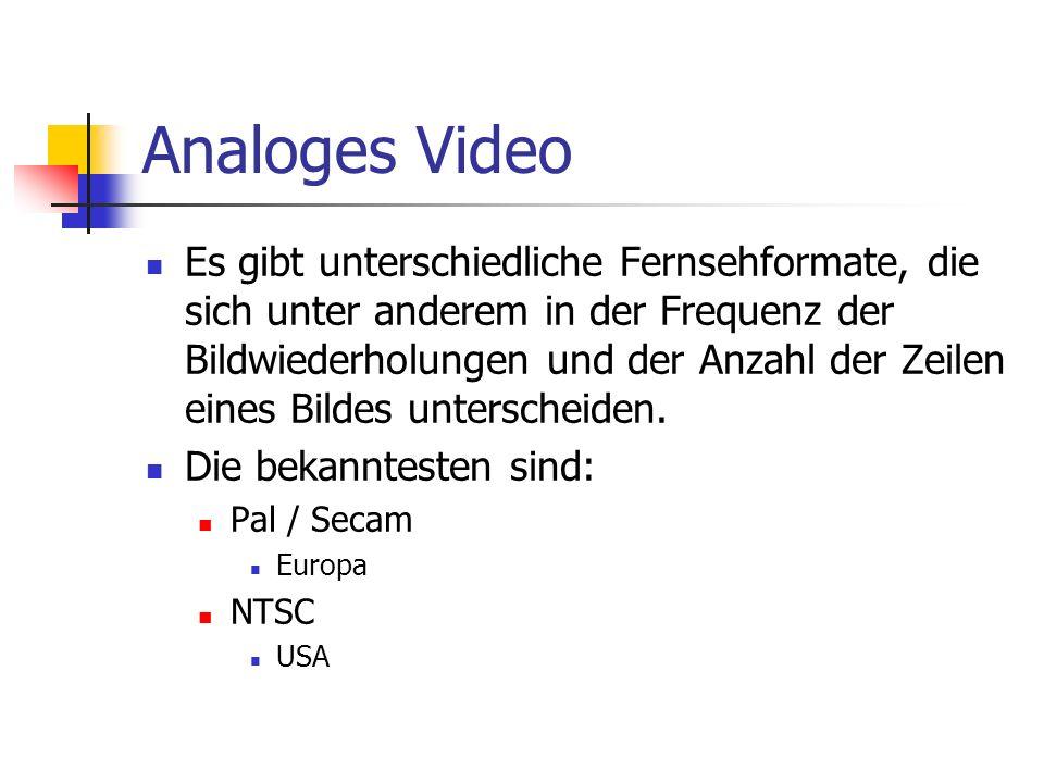 Analoges Video Es gibt unterschiedliche Fernsehformate, die sich unter anderem in der Frequenz der Bildwiederholungen und der Anzahl der Zeilen eines