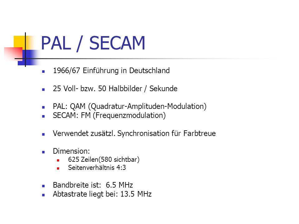 PAL / SECAM 1966/67 Einführung in Deutschland 25 Voll- bzw. 50 Halbbilder / Sekunde PAL: QAM (Quadratur-Amplituden-Modulation) SECAM: FM (Frequenzmodu