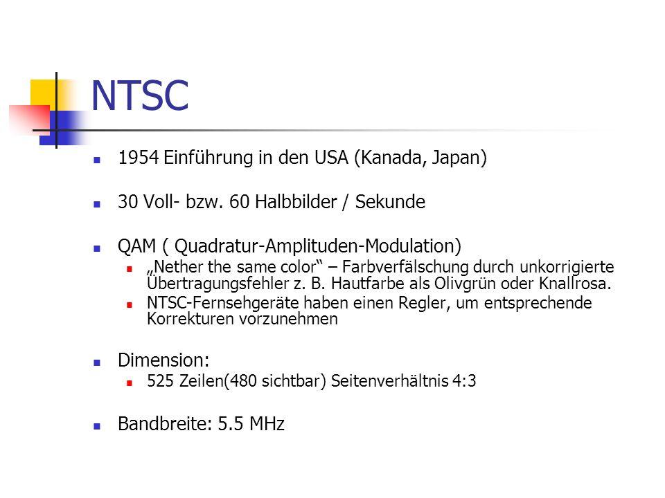 NTSC 1954 Einführung in den USA (Kanada, Japan) 30 Voll- bzw. 60 Halbbilder / Sekunde QAM ( Quadratur-Amplituden-Modulation) Nether the same color – F
