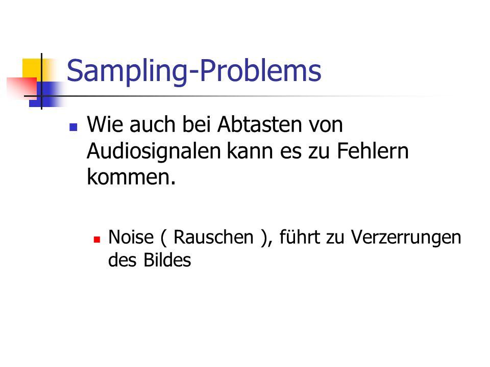 Sampling-Problems Wie auch bei Abtasten von Audiosignalen kann es zu Fehlern kommen. Noise ( Rauschen ), führt zu Verzerrungen des Bildes