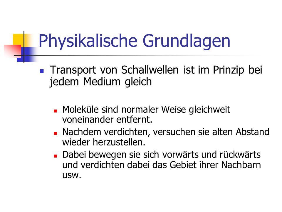 Physikalische Grundlagen Transport von Schallwellen ist im Prinzip bei jedem Medium gleich Moleküle sind normaler Weise gleichweit voneinander entfern
