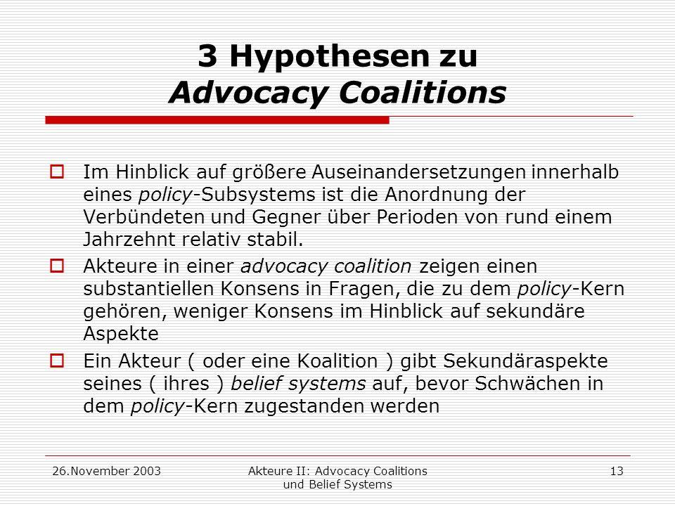 26.November 2003Akteure II: Advocacy Coalitions und Belief Systems 13 3 Hypothesen zu Advocacy Coalitions Im Hinblick auf größere Auseinandersetzungen