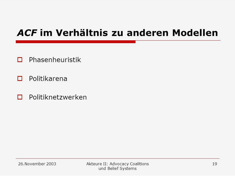 26.November 2003Akteure II: Advocacy Coalitions und Belief Systems 19 ACF im Verhältnis zu anderen Modellen Phasenheuristik Politikarena Politiknetzwe