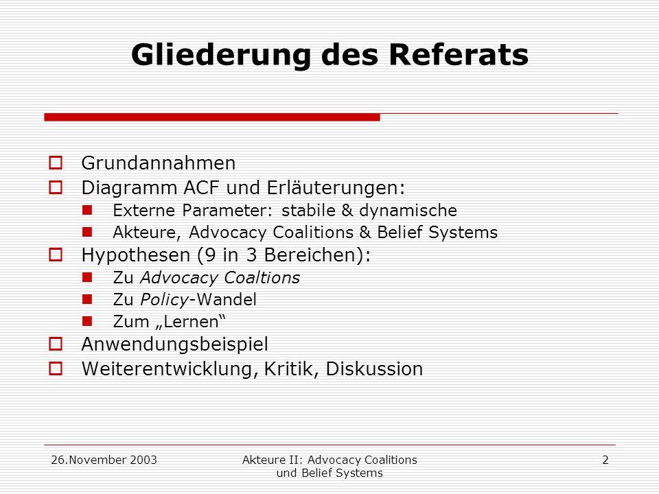 26.November 2003Akteure II: Advocacy Coalitions und Belief Systems 3 Der Advocacy-Coalition-Ansatz erklärt: -Policy-Wandel als Prozeß in einem Subsystem, -von externen Parametern beeinflußt, -in dem Akteure auf verschiedenen Levels interagieren, -die in Koalitionen (auf Grundlage von belief systems) kollaborieren -und durch policy- orientiertes Lernen innerhalb und zwischen advocacy coalitions Wandel erfahren.