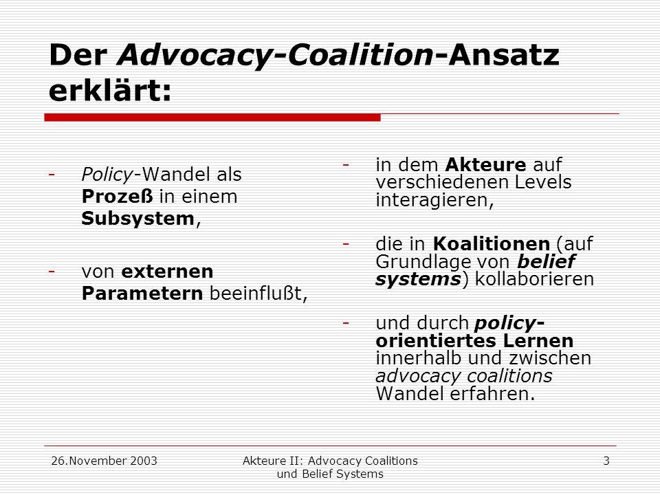 26.November 2003Akteure II: Advocacy Coalitions und Belief Systems 3 Der Advocacy-Coalition-Ansatz erklärt: -Policy-Wandel als Prozeß in einem Subsyst