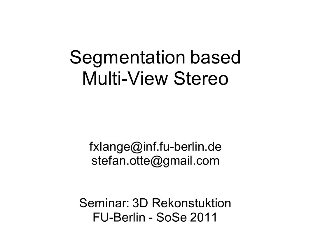 SBMVS - Optimale 3D Segmente