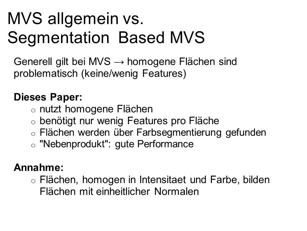 MVS allgemein vs. Segmentation Based MVS Generell gilt bei MVS homogene Flächen sind problematisch (keine/wenig Features) Dieses Paper: o nutzt homoge