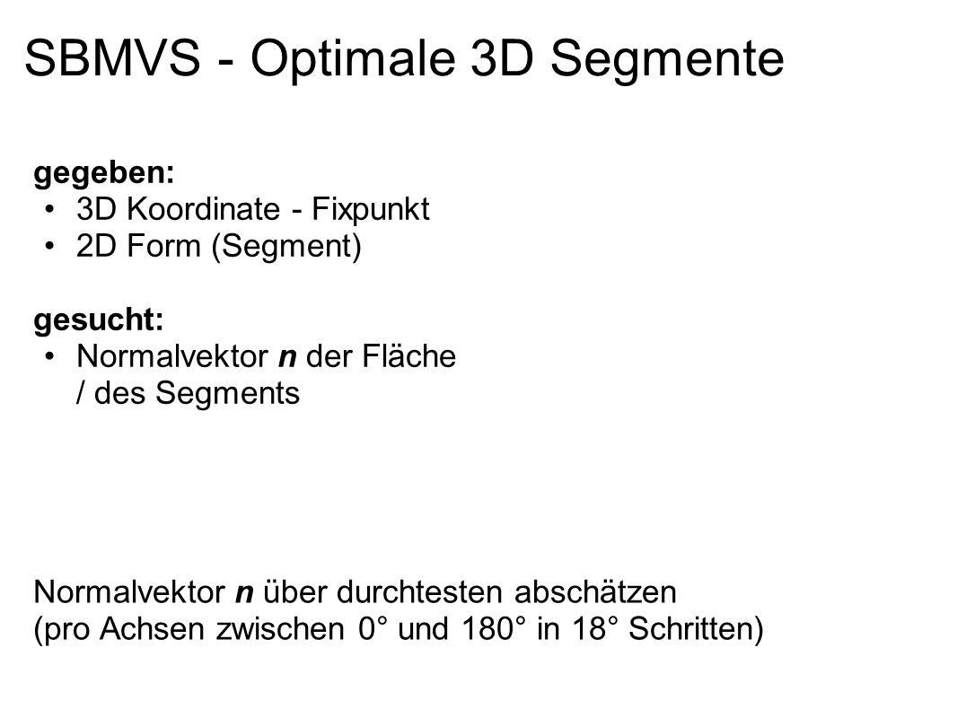 SBMVS - Optimale 3D Segmente Normalvektor n über durchtesten abschätzen (pro Achsen zwischen 0° und 180° in 18° Schritten) gegeben: 3D Koordinate - Fi