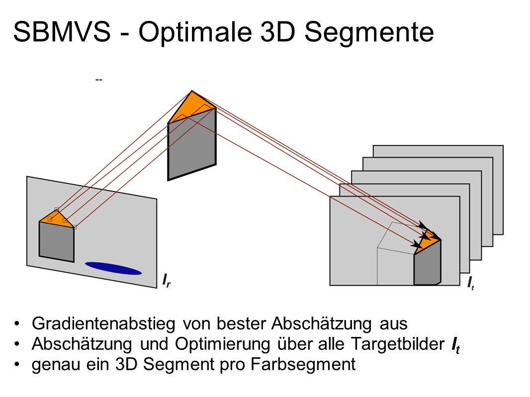 SBMVS - Optimale 3D Segmente Gradientenabstieg von bester Abschätzung aus Abschätzung und Optimierung über alle Targetbilder I t genau ein 3D Segment