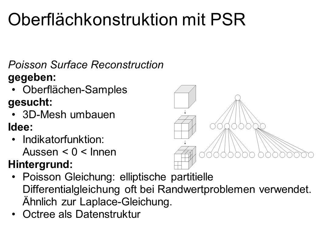 Oberflächkonstruktion mit PSR Poisson Surface Reconstruction gegeben: Oberflächen-Samples gesucht: 3D-Mesh umbauen Idee: Indikatorfunktion: Aussen < 0