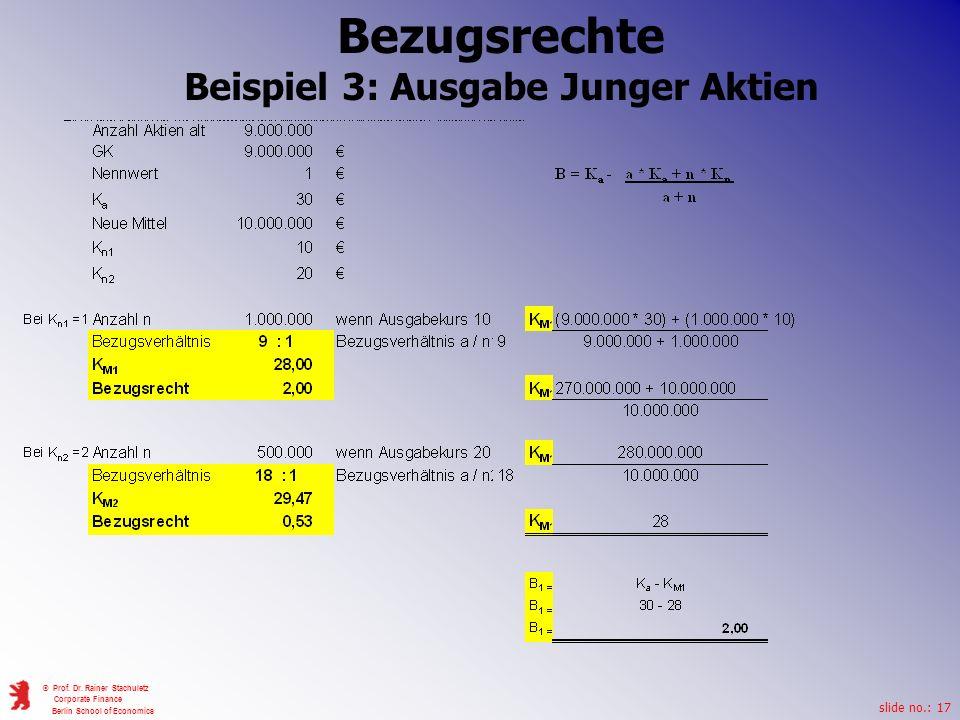 slide no.: 17 © Prof. Dr. Rainer Stachuletz Corporate Finance Berlin School of Economics Bezugsrechte Beispiel 3: Ausgabe Junger Aktien