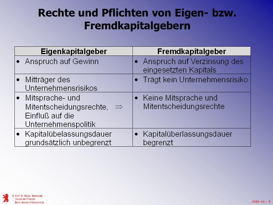 slide no.: 4 © Prof. Dr. Rainer Stachuletz Corporate Finance Berlin School of Economics Rechte und Pflichten von Eigen- bzw. Fremdkapitalgebern