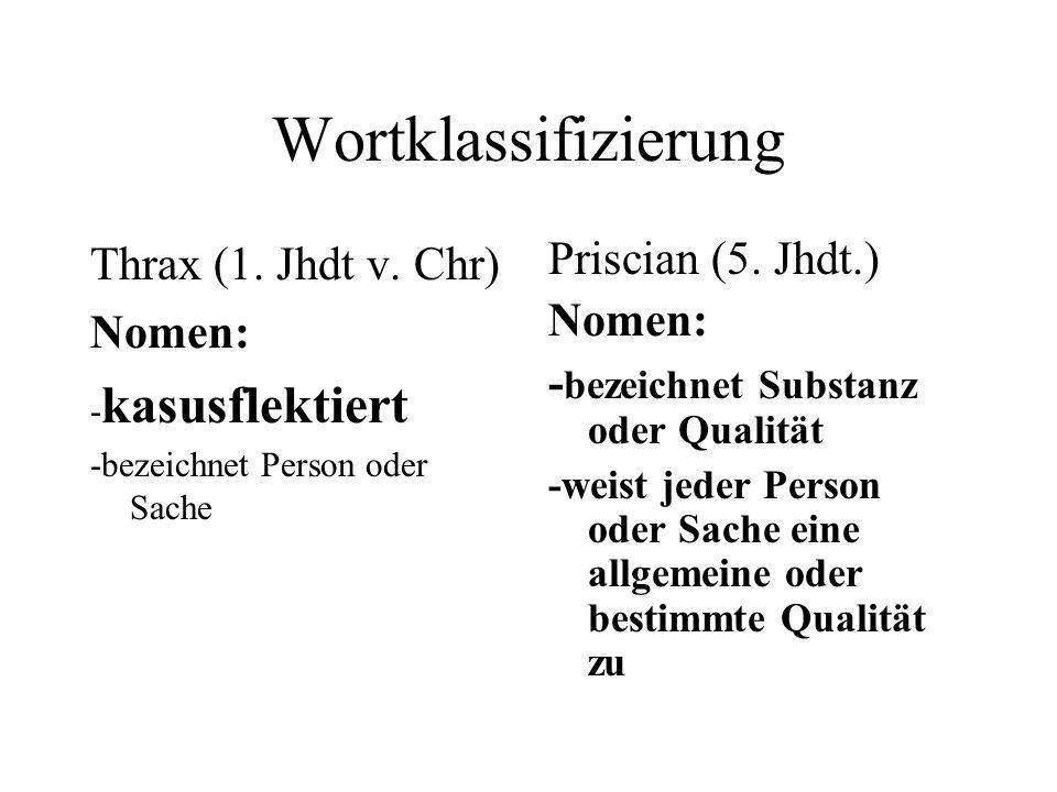 Wortklassifizierung Thrax (1. Jhdt v. Chr) Nomen: - kasusflektiert -bezeichnet Person oder Sache Priscian (5. Jhdt.) Nomen: - bezeichnet Substanz oder