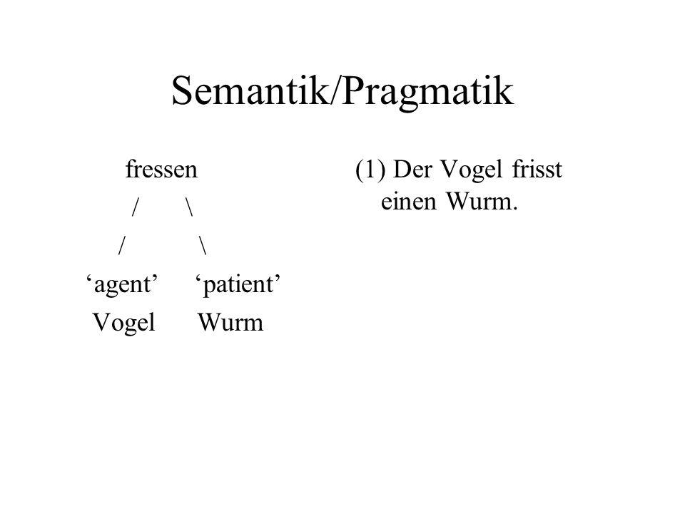 Semantik/Pragmatik fressen / \ agent patient Vogel Wurm (1) Der Vogel frisst einen Wurm.