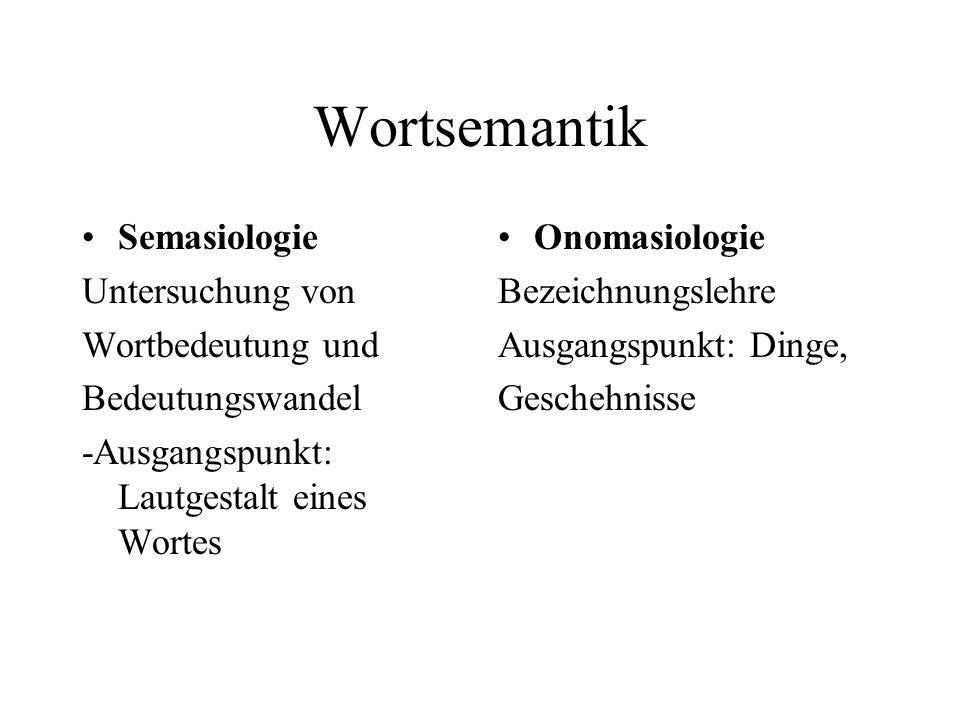 Wortsemantik Semasiologie Untersuchung von Wortbedeutung und Bedeutungswandel -Ausgangspunkt: Lautgestalt eines Wortes Onomasiologie Bezeichnungslehre