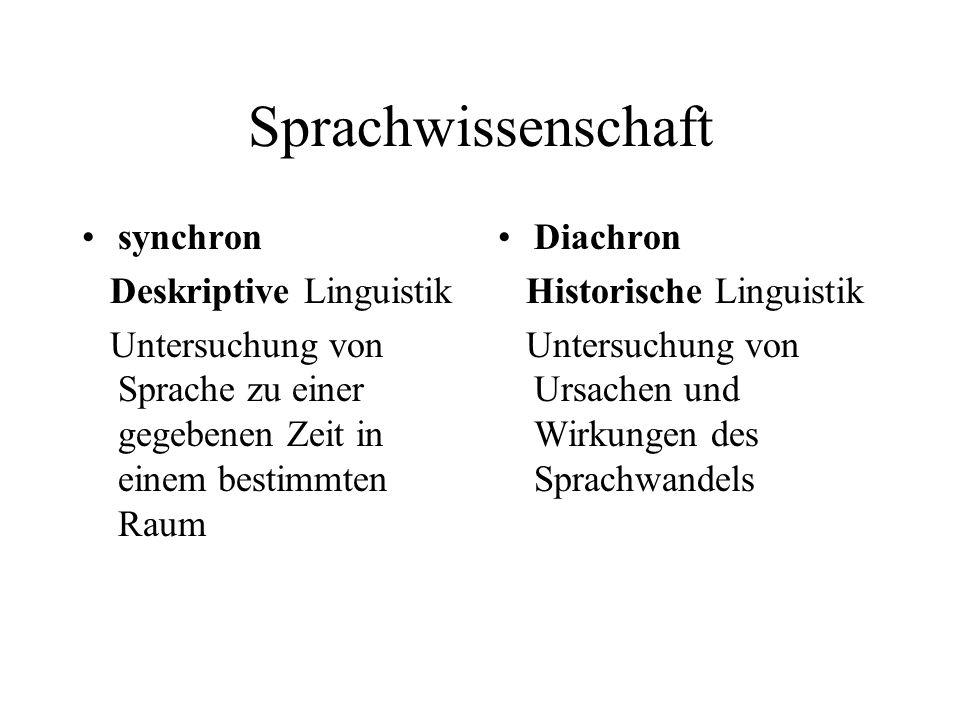 Sprachwissenschaft synchron Deskriptive Linguistik Untersuchung von Sprache zu einer gegebenen Zeit in einem bestimmten Raum Diachron Historische Ling