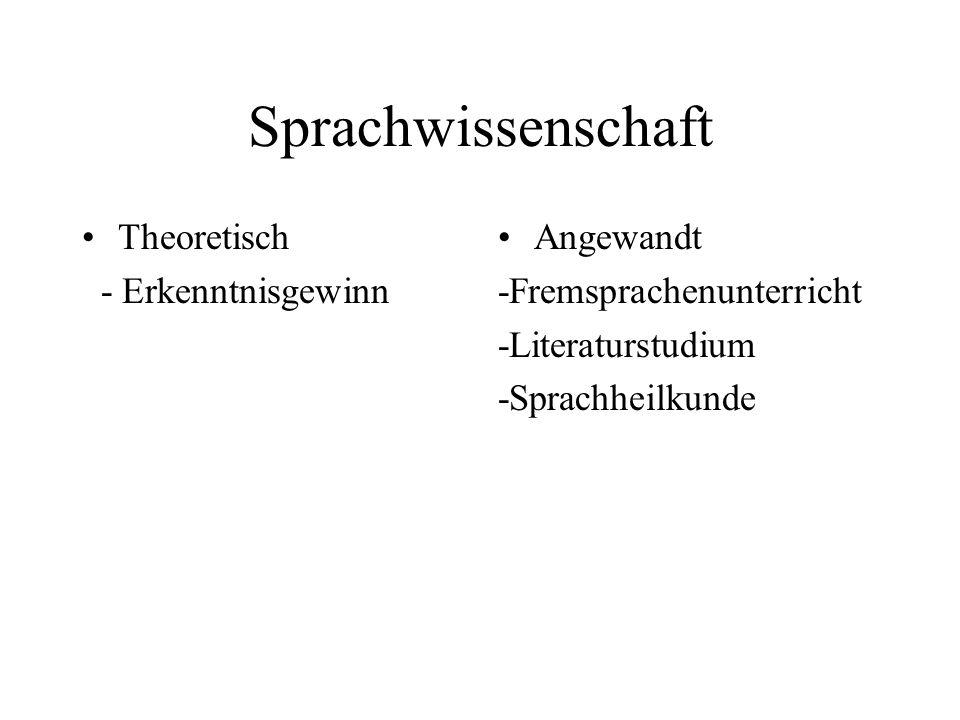 Sprachwissenschaft Theoretisch - Erkenntnisgewinn Angewandt -Fremsprachenunterricht -Literaturstudium -Sprachheilkunde