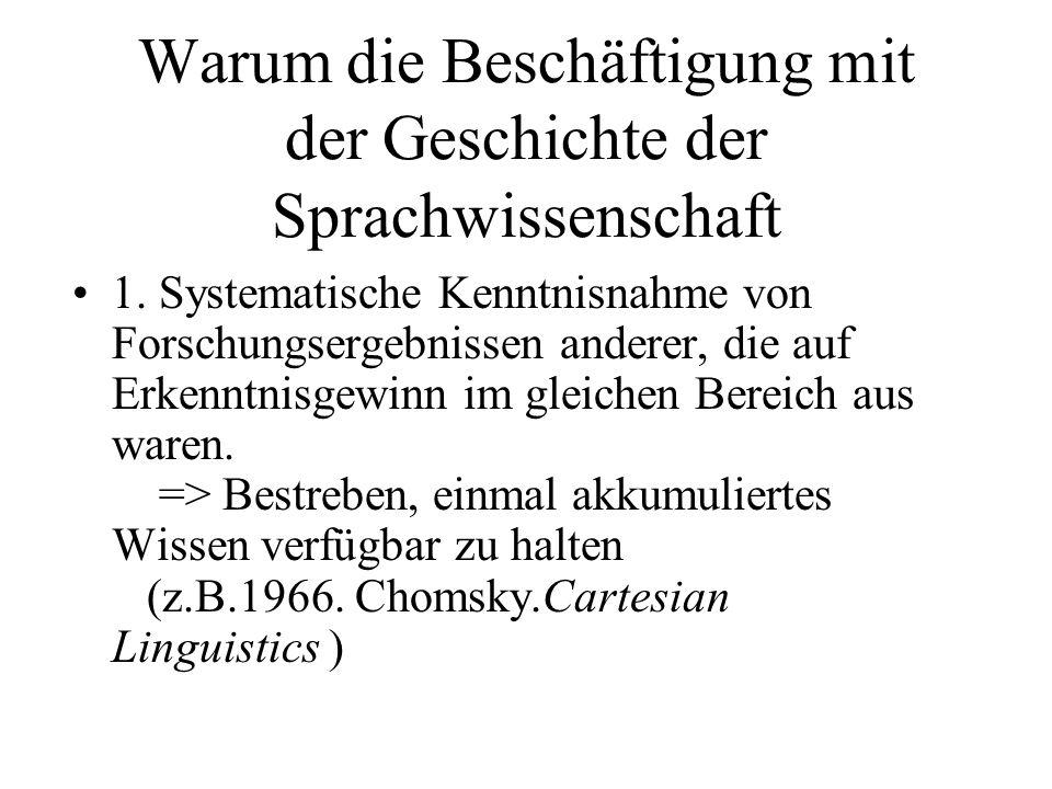 Warum die Beschäftigung mit der Geschichte der Sprachwissenschaft 1. Systematische Kenntnisnahme von Forschungsergebnissen anderer, die auf Erkenntnis