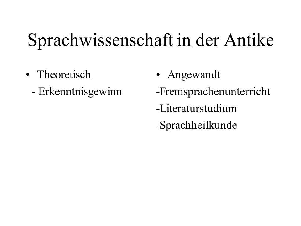Sprachwissenschaft in der Antike Theoretisch - Erkenntnisgewinn Angewandt -Fremsprachenunterricht -Literaturstudium -Sprachheilkunde