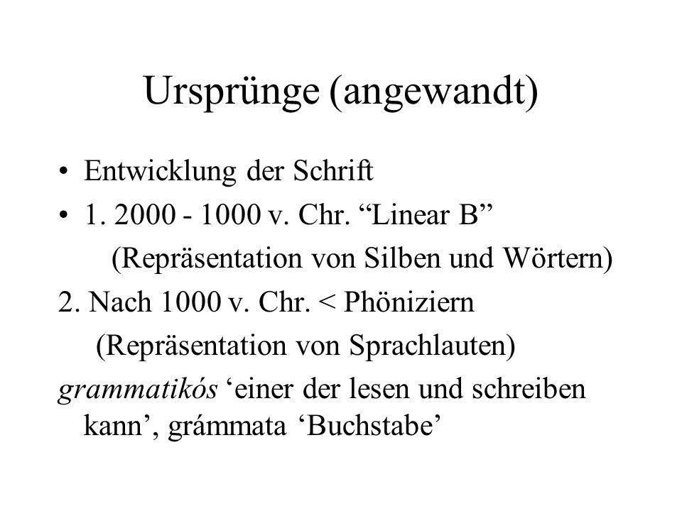 Ursprünge (angewandt) Entwicklung der Schrift 1. 2000 - 1000 v. Chr. Linear B (Repräsentation von Silben und Wörtern) 2. Nach 1000 v. Chr. < Phönizier