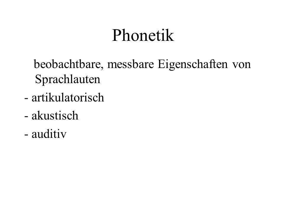 Phonetik beobachtbare, messbare Eigenschaften von Sprachlauten - artikulatorisch - akustisch - auditiv